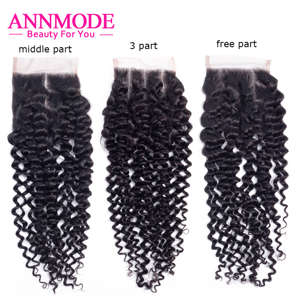 Annmode Kinky Curly Malaysian 4x4 Lace Closure 8-20 Inch 100% Human Hair  Non Remy Swiss Lace Closure Free Shipping