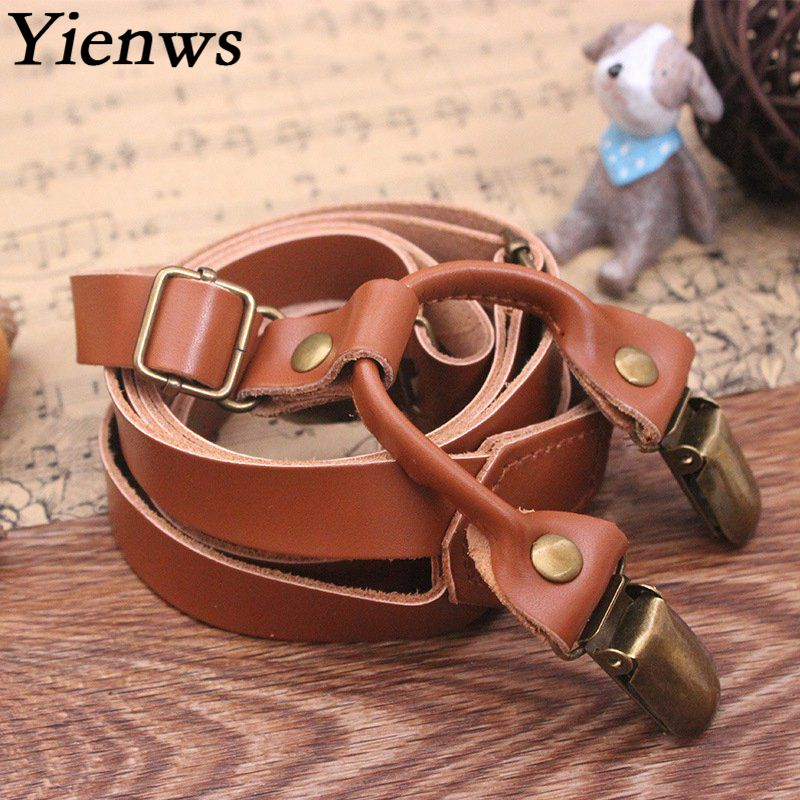 Yienws Genuine Leather Suspenders For Men Women Brown Vintage Suspenders With 4 Clip Bronze Pants Suspenders Bretelles YiA150