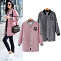 Plus Size Women Clothing 2017 Spring Autumn New Arrival Womens Jackets And Coats Gray Pink Ukraine Style Long Coat Woman Sale