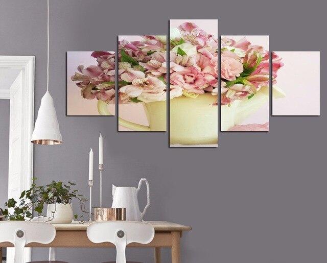 Pintura Para Salas Y Cocinas : Moda flor rosa flor lienzo pintura para sala de estar cocina