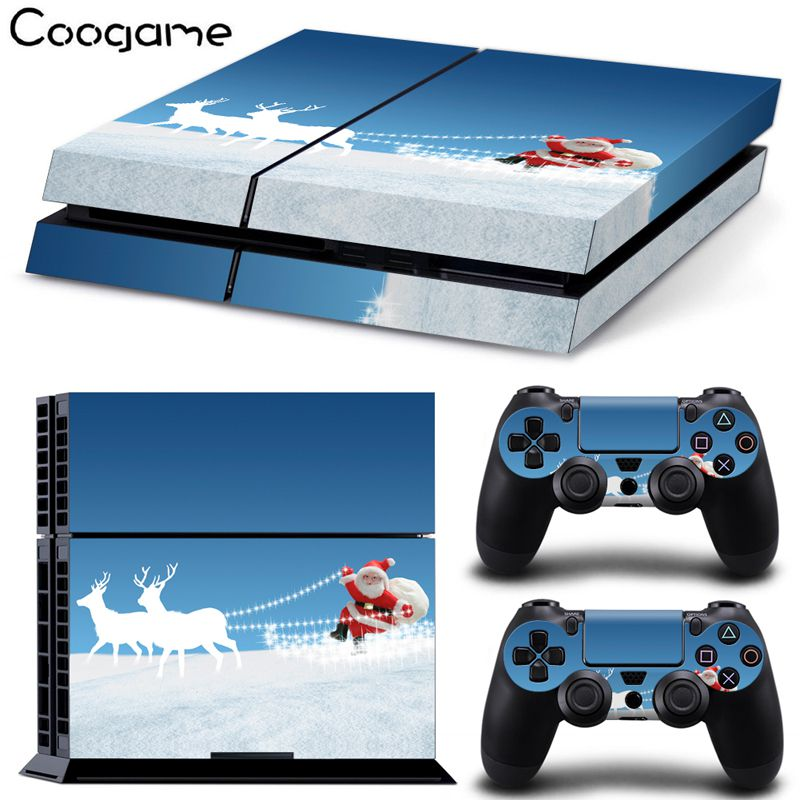 Christmas Santa Claus Sticker Skins For PS 4 Wrap For Sony Palystation 4 Console & 2 Controller Pads