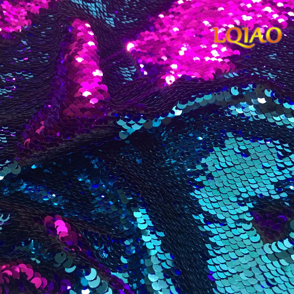 Customize 5 ساحات الفيروز الفوشيه الترتر نسيج ل diy التصميم-في قماش من المنزل والحديقة على  مجموعة 3