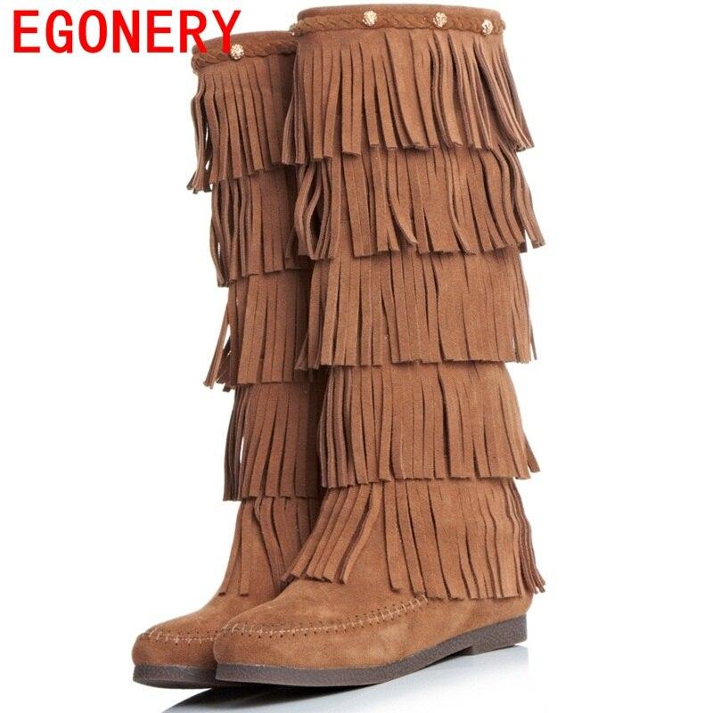 ФОТО EGONERY shoes 2017 women knee high boots side zipper tassel fashion riding boots classic round toe low heels short plush