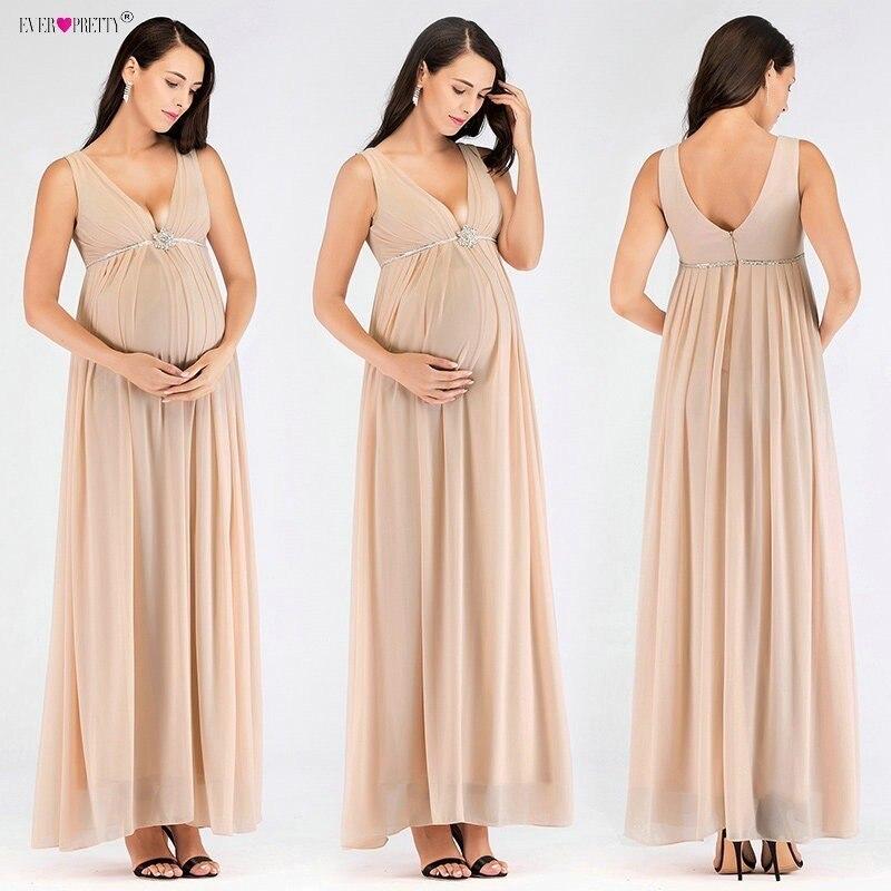 Ever Pretty femmes enceintes robes De soirée longue Sexy col en V Empire taille robes formelles Blush Abendkleider 2018 offre spéciale Robe De soirée