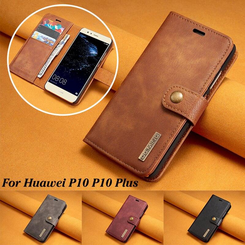 DG. ming бренд класса люкс кожаный чехол для Huawei P10 плюс съемная 2 в 1 флип держателя карты Бумажник Обложка для Huawei p10 плюс Coque