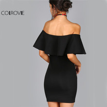 COLROVIE Summer Dress Women Black Sexy Off Shoulder Embroidery Party Dresses 2017 Rose Applique Ruffle Elegant Bodycon Dress