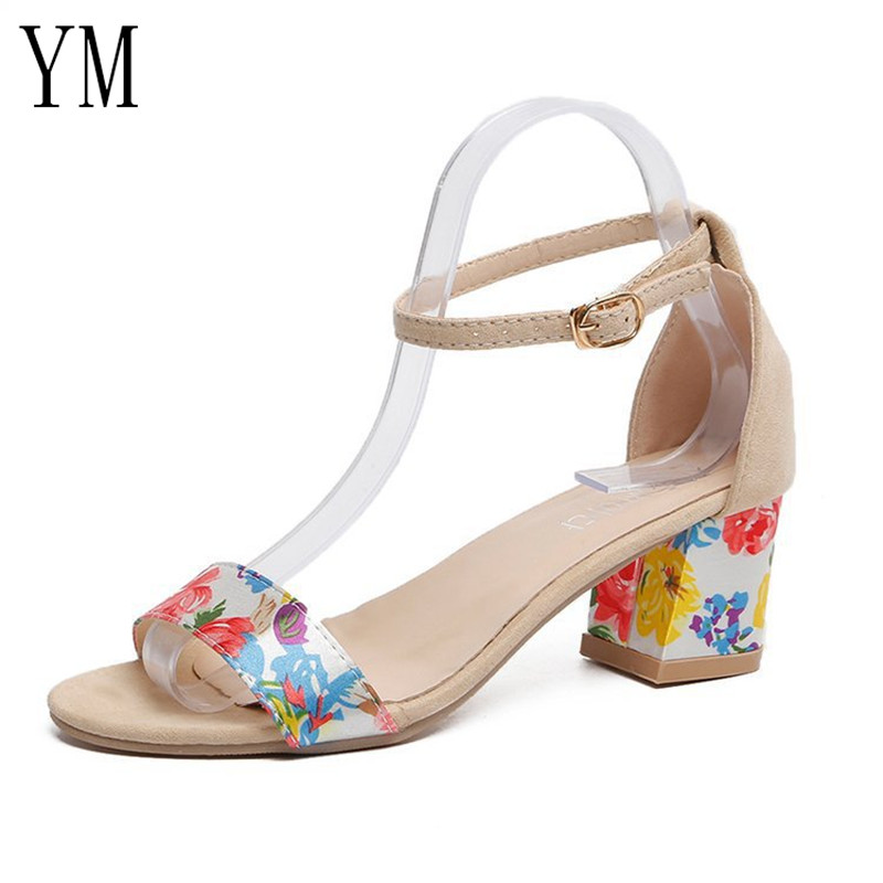 Beige 2019 Summer New High Heels Womens Shoes With Open Toe Flower Sexy Word Buckle Women Sandals Ankle Strap Rome Shoes 34-40Beige 2019 Summer New High Heels Womens Shoes With Open Toe Flower Sexy Word Buckle Women Sandals Ankle Strap Rome Shoes 34-40