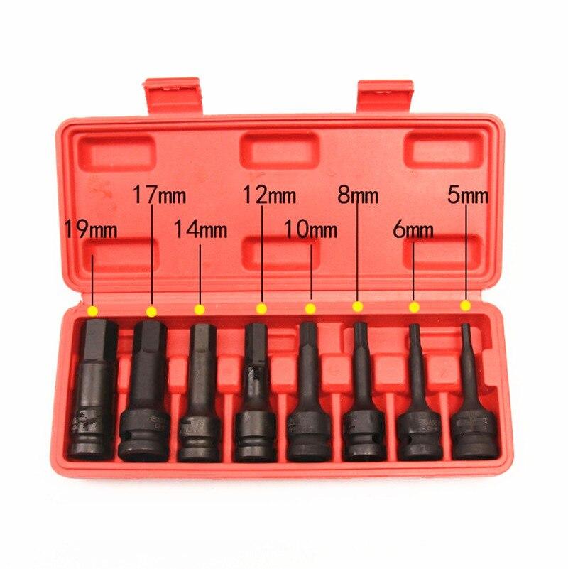 8 Pcs Air Hex Socket Set 1 2 Square Drive Impact Socket H5 H6 H8 H10