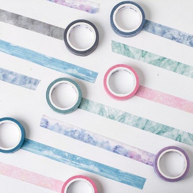 24 Stkspartij Natuur Kleur Washi Tape Set Blauw Wit Paars Roze Deco