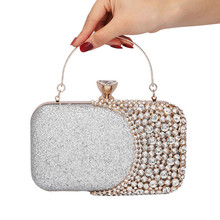 2019 Clutch bag Evening Bag Women Wedding Shiny Handbags Bridal Metal Bow Clutches Chain Shoulder