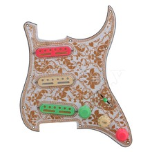Yibuy  Bauhinia Pattern SSS 11 Holes Pickguard Scratchplater Set 3 Single Coil Pickup 1Tone 2 Volumne Knobs Switch