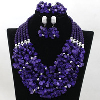 Free Shipping! Purple Coral Nigerian Bridal Bridal Bead Necklace Set 5 Rayers Crystal African Beads Women Jewelry Set HX989