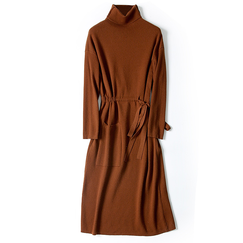 pure wool turtleneck knit women fashion long pullover sweater dress caramel 3colors M/2XL