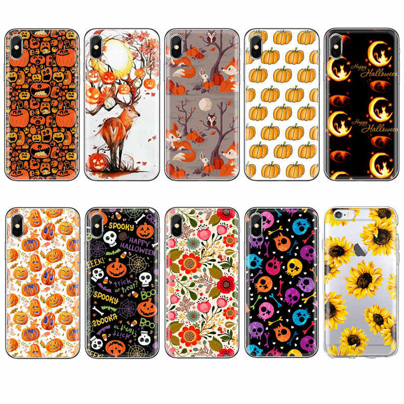 Herbst Orange Halloween Mais fuchs telefon Fall Für iPhone 11 PRO MAX 5S 6s 8 7 plus XR XS X P20 pro Herbst kürbis TPU Silikon Fall