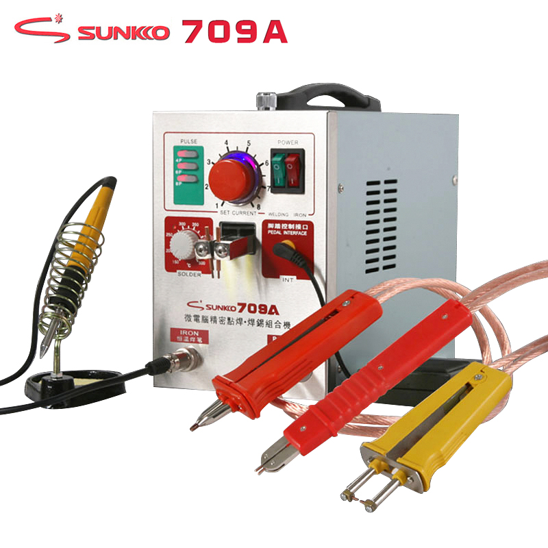 SUNKKO 709A Spot Welder 1.9KW High Power Precision Pulse Battery Spot Welding Machine T12 Soldering Iron For 18650 Battery Packs high power 709ad battery spot welding machine pulse display automatic cooling system with soldering iron