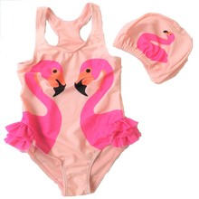 Girls Swimwear Cute Kids Swimsuit with Swimming Cap Swan Flamingo 2017 baby girl bathing suit One Pieces swim wear for Children недорго, оригинальная цена