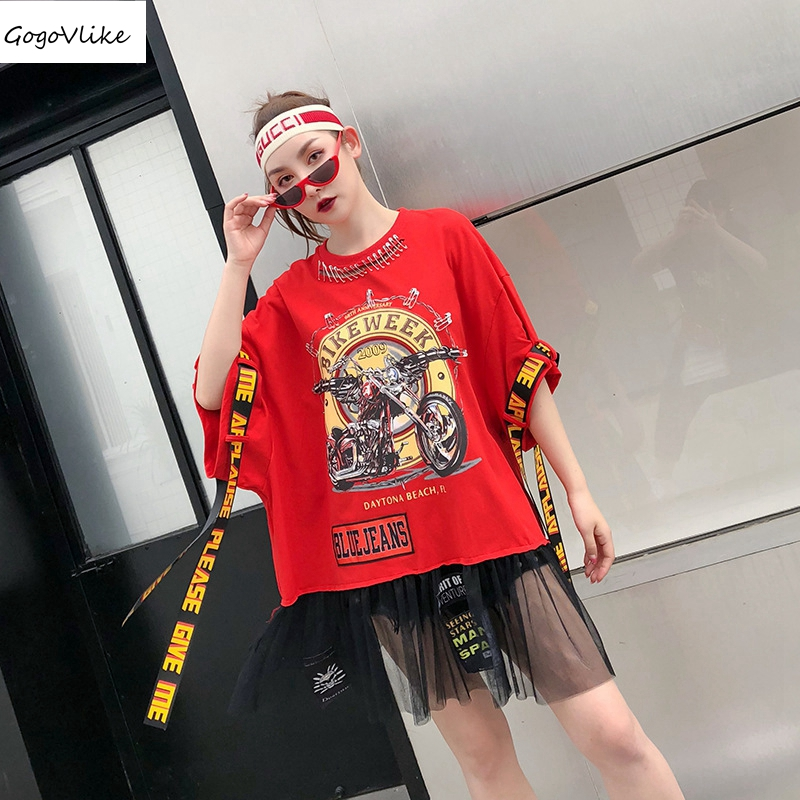 Women tee shirt femme Cotton Straps 2018 hip hop t shirt Hollow Out Summer Top Tees Pink Pins Big Size Harajuku Mesh LT288S30