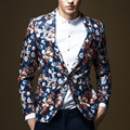 Весна Осень Мода Мужская Мужской Цветочные Схема для вышивки Тонкий Оснащены Одной Кнопки Пиджак, осень Повседневная Стильный Прохладно Блейзеры Для Мужчин