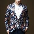Primavera Otoño Moda Hombres Hombres Patrón Impreso Floral Cabidas Delgadas de Un Botón de la Chaqueta, Fresco Con Estilo Ocasional otoño Chaquetas Para Hombre