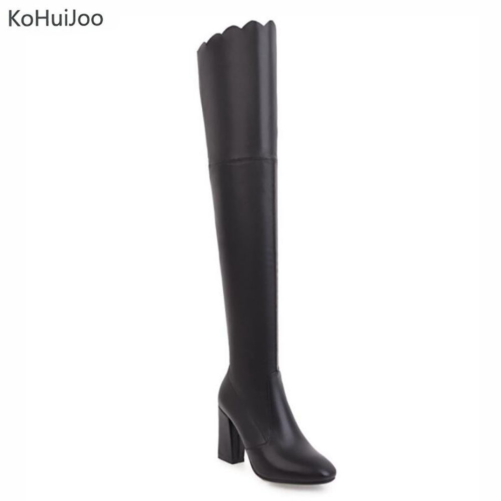 KoHuiJoo 34-43 Plus Size Over Knee Boots Women Black Winter Boots Woman Shoes Autumn Zip Thick Heel Thigh High Boot Female