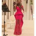 Vestido de festa longo Em Linha Reta Do Pescoço Da Colher Off The Shoulder Ver Através Do Laço Das Mulheres De Cetim Vermelho Hatue Couture Evening Vestidos