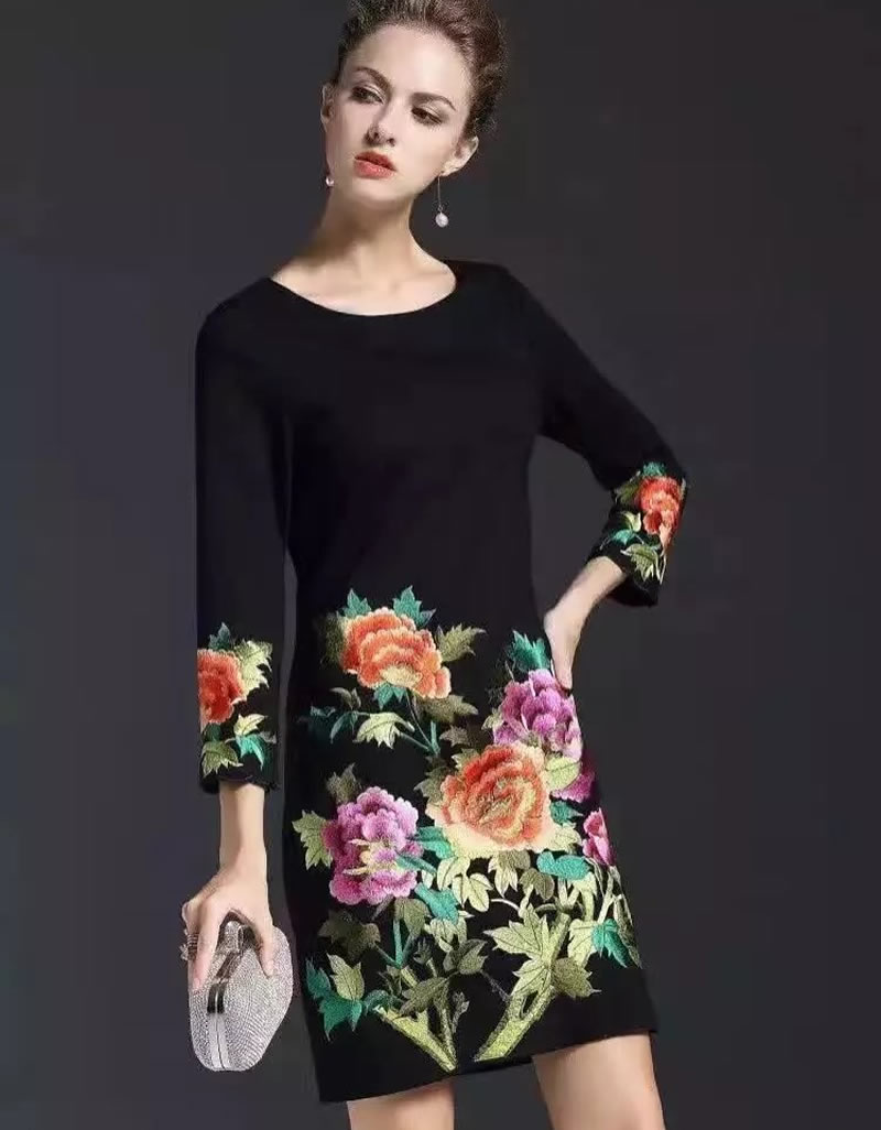 20106 Vintage Flower Embroidery Women Sheath Dress Fashion O Neck Casual Dresses