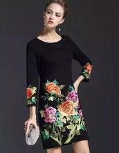 20106   Vintage Flower Embroidery Women Sheath Dress Fashion O-Neck Casual Dresses