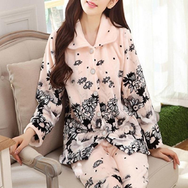 Pyjamas Women Sleepwear Winter Pajamas Women Thicken Warm Flannel Long Sleeve Nightwear Homewear Pajamas Set Pijama Mujer
