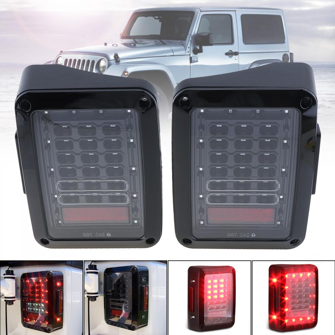 Smoked LED Tail Light 2007-2017 Jeep Wrangler Brake Reverse Back Up Turn Signal Light Daytime Running Lamps DRL Car Taillights