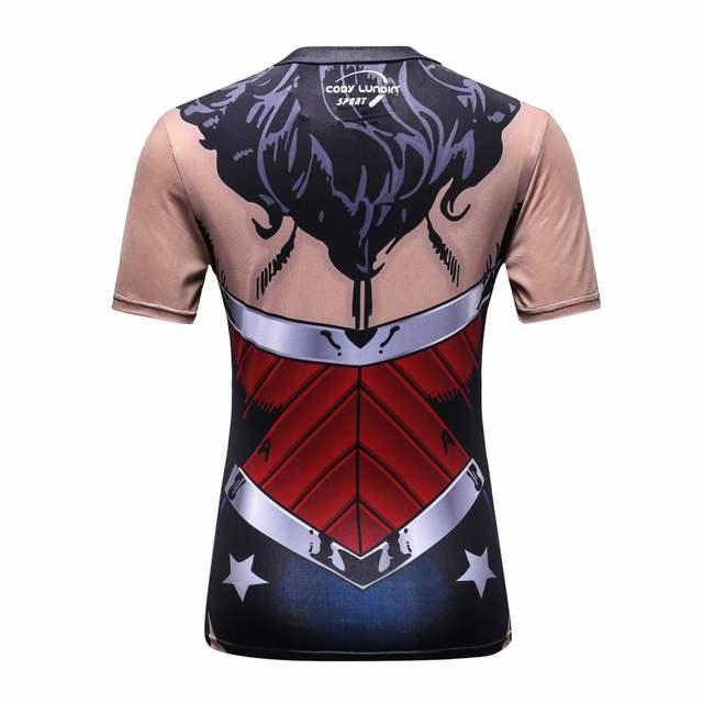 36c0e556fadec placeholder Novas Mulheres Superman Tops Camisas Camiseta de Super-heróis  de Fitness Calças Justas de Compressão