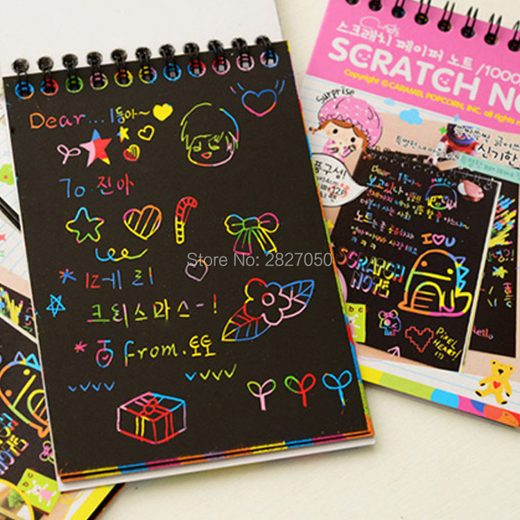 Magic Drawing Book DIY Scratchbook Scratch Stickers Notebook Black Cardboard Stationery Drawing Toy As Gift For Kids
