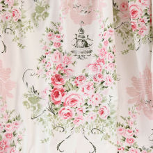 160CM Width White Cotton Fabric Pink Big Floral Printed Patchwork Sewing for bedsheet