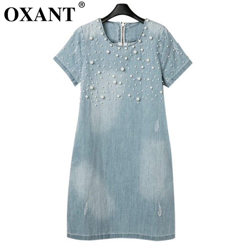 2388cfdb48 OXANT Yaz Tarzı Gevşek Kısa Kollu Kadın Denim Jeans Elbise O Boyun Yıkanmış  Boncuklu Zarif Akşam Parti kadın elbiseleri 4X 5XL d44