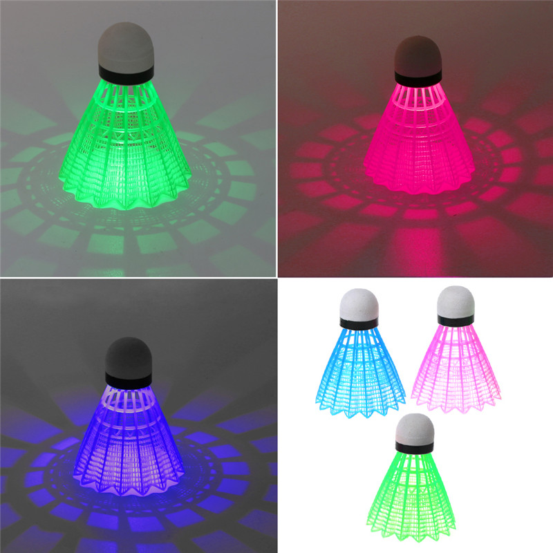 3pcs LED Luminous Badminton Dark Night Colored Plastic Foam Glowing Shuttlecocks