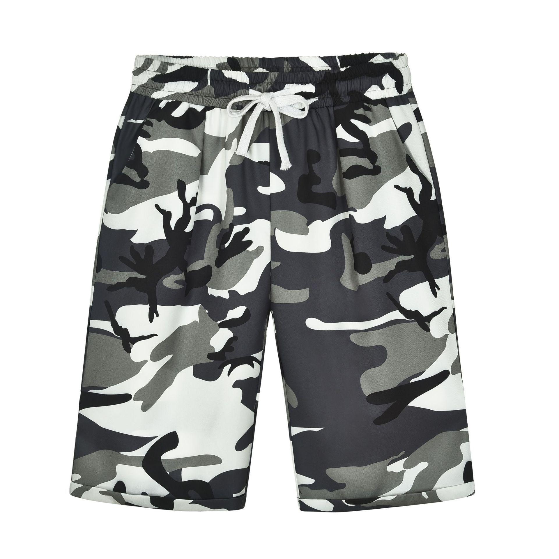 Women   Pants   Camouflage Short   Pants   Knee Lenth Straight   Capris   Casual Elastic Waist Loose Femme Trousers Beach Cotton Camo   Pants