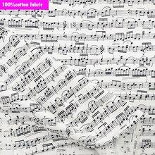 Широкий 110 см белый музыка Ткань хлопковая музыкальная нота Хлопок Ткань Вышивание лоскутное DIY костюмы дома ткань