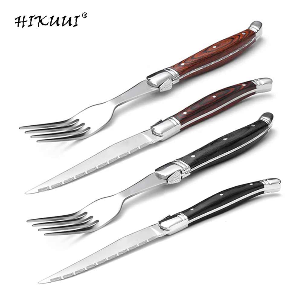 Us 17 69 40 Off 2pcs Set Steak Knives Fork Wooden Handle Flatware Sets Stainless Steel Cutlery Wood Dinner Forks Laguiole Style In