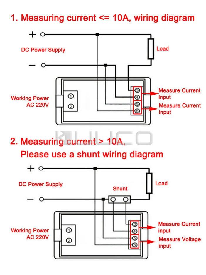 2in1 Voltage Current Monitor DC 0~20V/50A Digital Voltmeter Ammeter