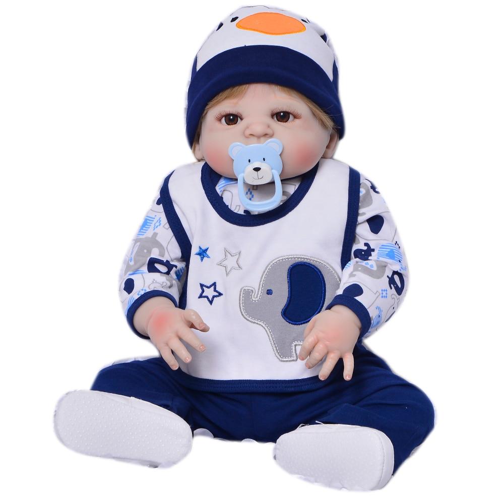 Newborn Doll 23 Inch Full Silicone Body Reborn Baby Doll Toy For Boy 57 cm Realistic Babies Doll Real Born bebe Birthday Gifts цена