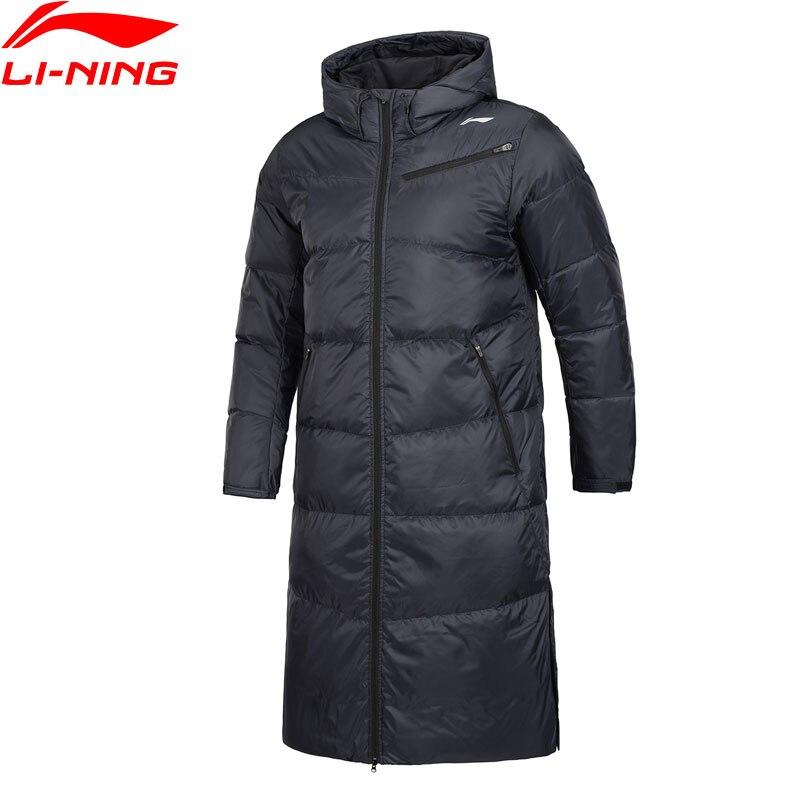 Li-Ning hombres Serie de Capacitación largo abrigo a prueba inteligente 70% pato blanco abajo forro deporte de invierno con capucha chaqueta AYMN055 MWY314