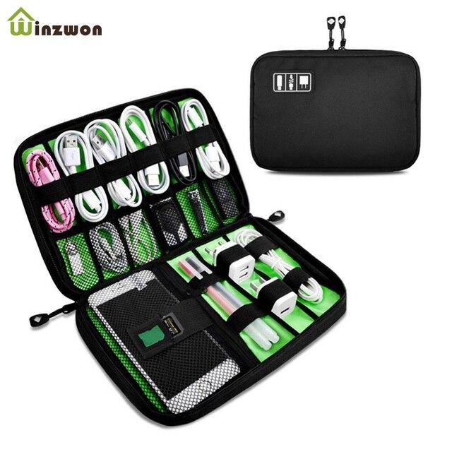 ポータブル旅行ジッパー USB ケーブルバッグオーガナイザー黒ナイロン電話充電器ケース電子アクセサリーハードドライブ保存袋