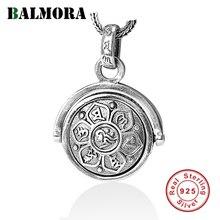 BALMORA 925 ayar gümüş budizm döner döner Charm kolye kolye erkekler kadınlar için moda altı Words Sutra takı