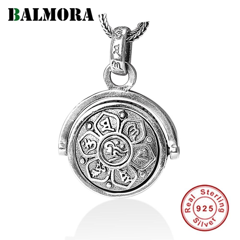 BALMORA de Plata de Ley 925 (faramita seis words Sutra Spinner colgantes del encanto y colgantes collar de la joyería de los hombres SY14198 \ B