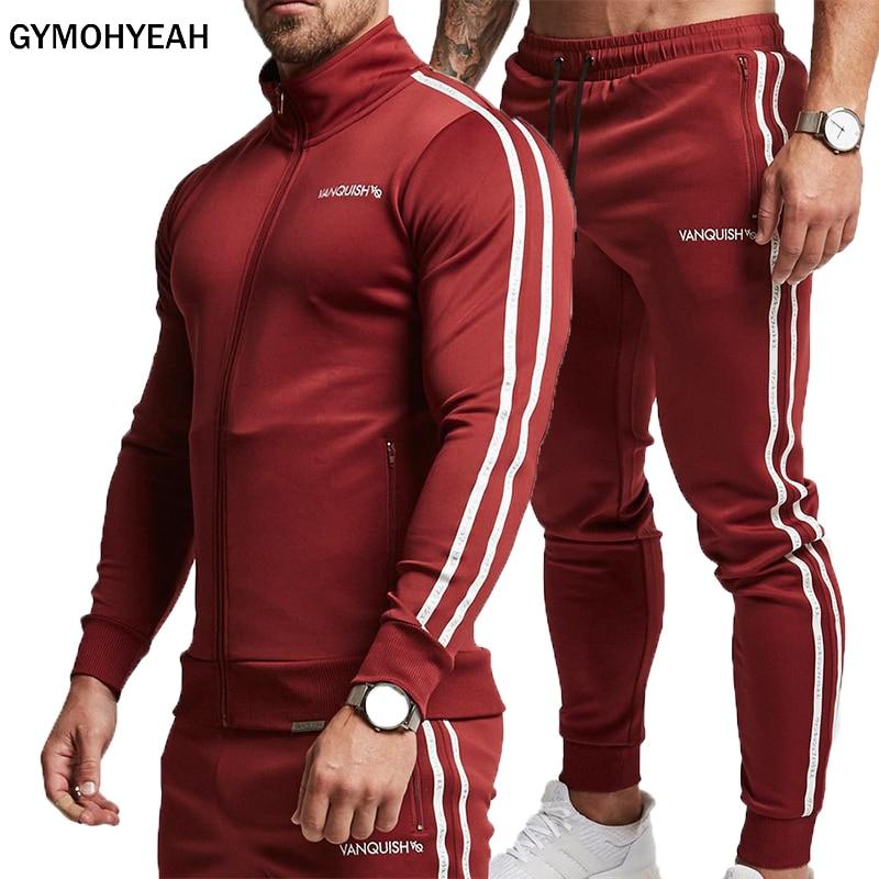 GYMOHYEAH бренд спортивные костюм Для мужчин толстовки комплекты Для мужчин s тренажерные залы Спортивная одежда для бега костюм мужской спорти...