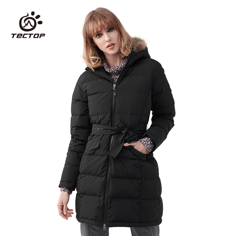 TECTOP Winter Outdoor Women Camping Hiking Long Section Down Jackets Thicken Windproof Warm Female Hooded Down Coats