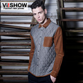 Viishow Shirt Men British Style Patchwork Long-Sleeve Blouse Slim Fit Casual Shirt for Men