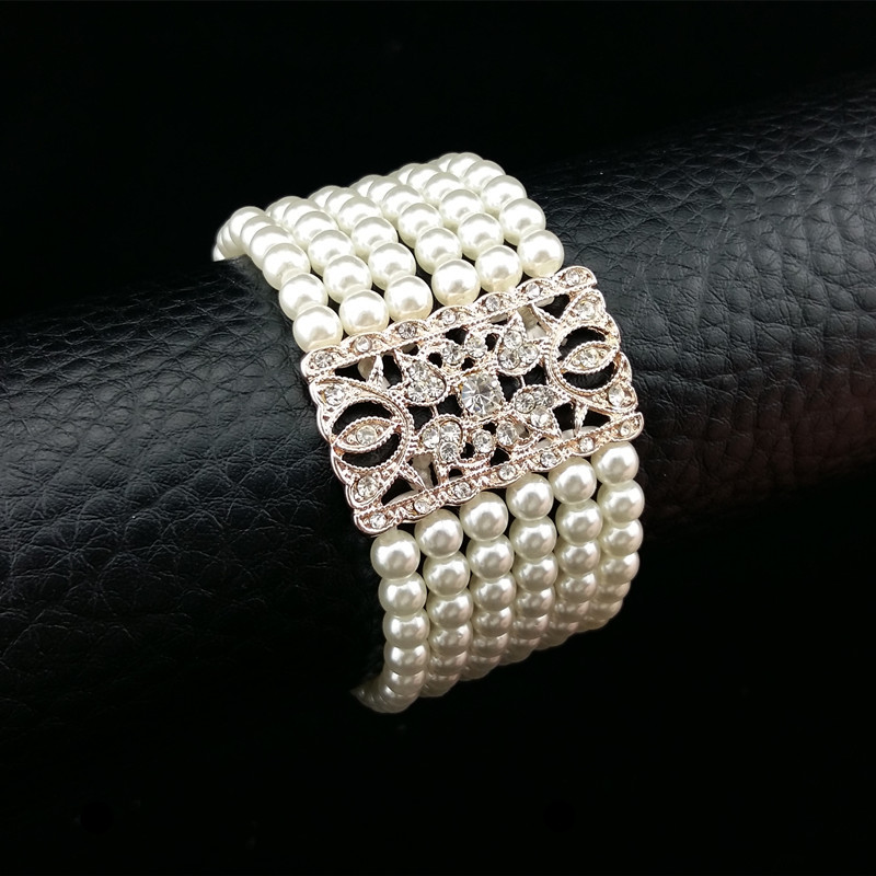 Gorgeous Trendy Rose Golden Clear Crystal Wedding Bracelet ...