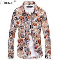 7 Colors 2015 New Style Flower Printing Shirt Men S Long Sleeve Shirts Casual Plus Size