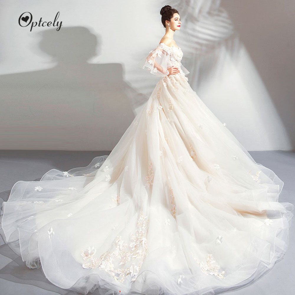 Optcely Elegant Romantic Boat Neck Flare Sleeve Ball Gown Wedding Dresses 2019 Appliques Beaded Court Train Vintage Bridal Gown