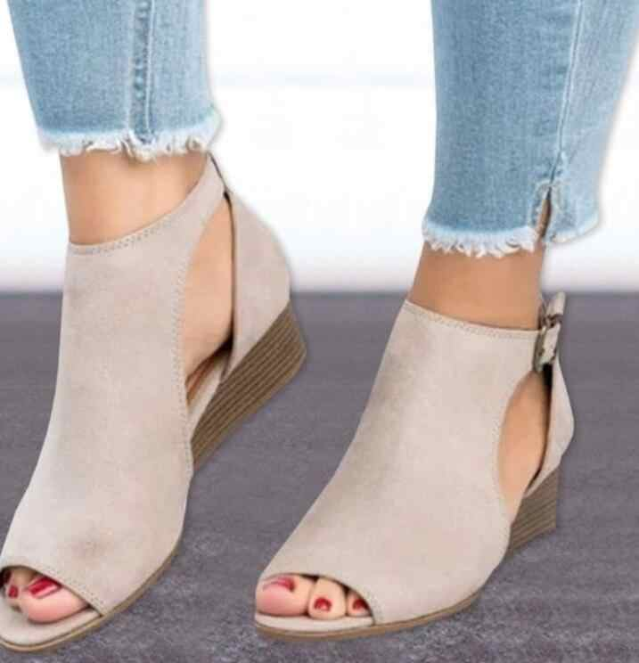 SLYXSH 2018 donna cuneo fibbie bocca dei pesci dei sandali gladiatore delle donne sandali con tacco medio sandali di estate delle signore peep toe scarpe da donna